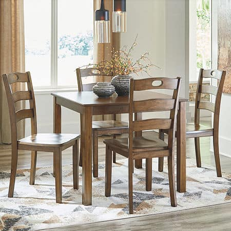 Signature Design by Ashley Hazelteen 5-Piece Square Table Dining Set, One Size , Brown
